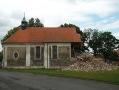 Stav kostela Lenešice po zřícení